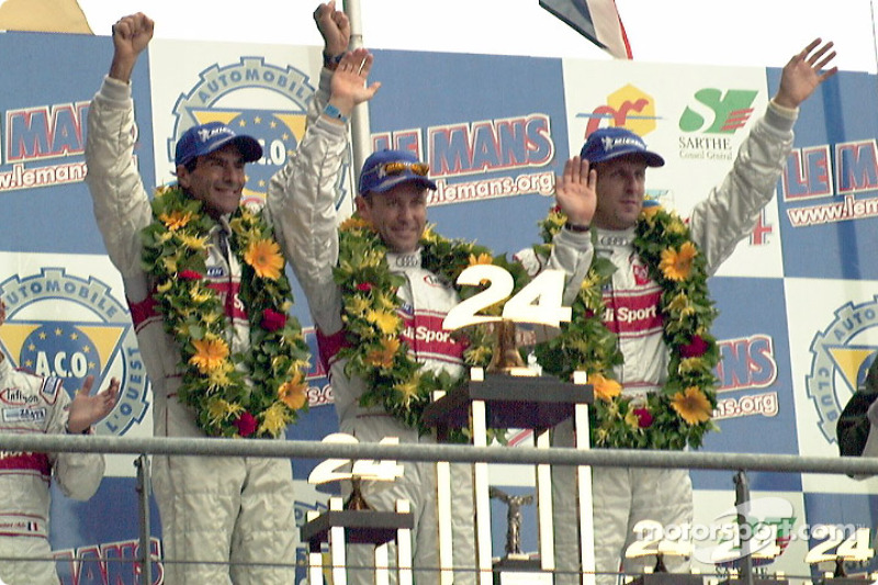The winner: Emanuele Pirro, Tom Kristensen and Frank Biela