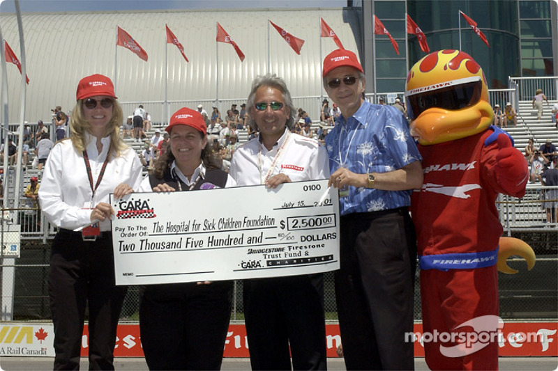 CARA charities presenting a check
