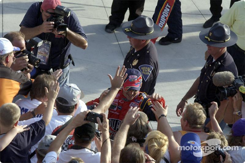 Jeff Gordon celebrating