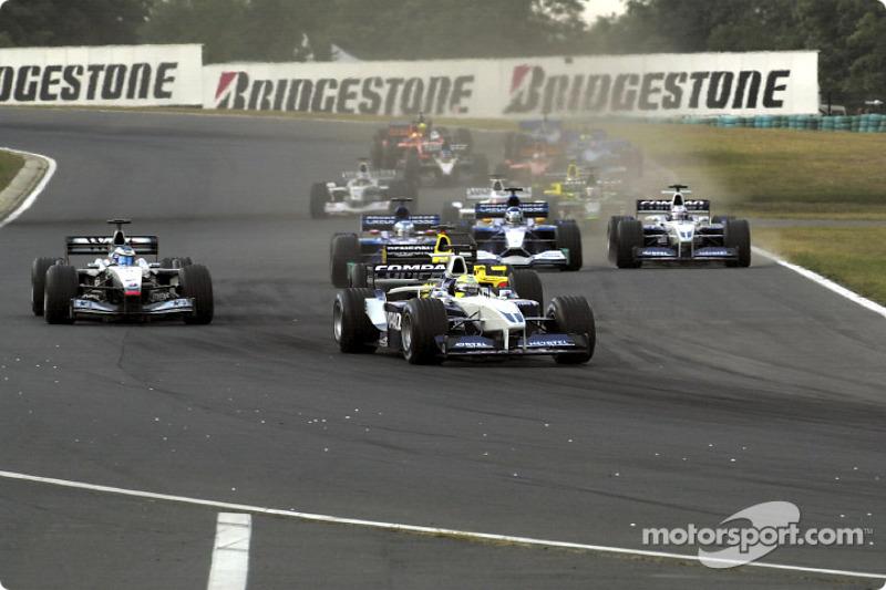First lap: Ralf Schumacher leading the field