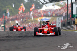 Michael Schumacher in front of Rubens Barrichello