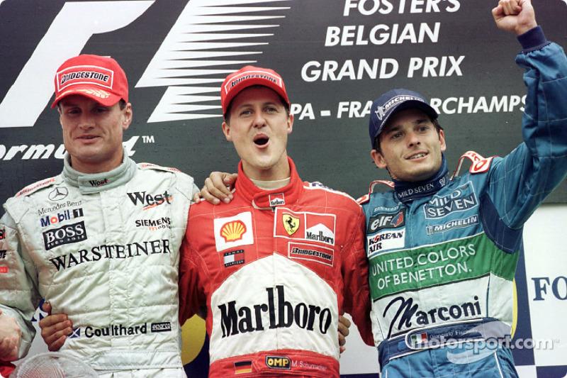 The podium: David Coulthard, Michael Schumacher and Giancarlo Fisichella