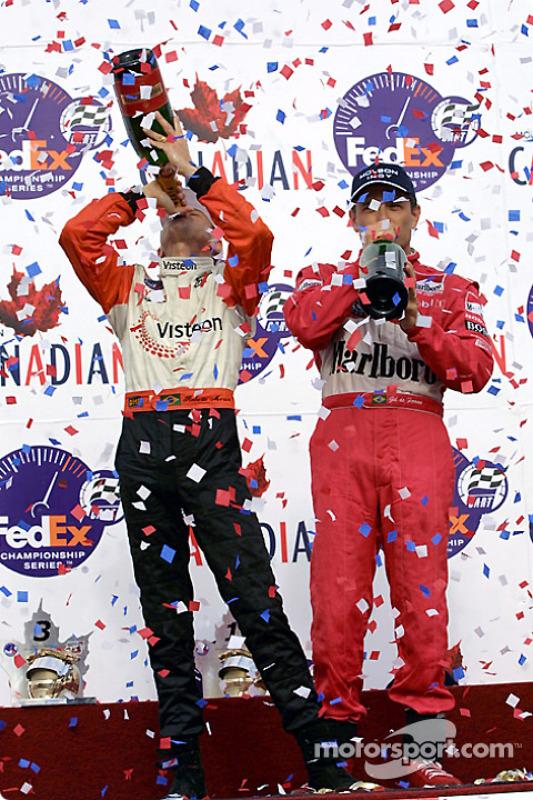 Champagne for Roberto Moreno and Gil de Ferran