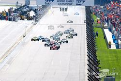 The start: Michael Schumacher taking the lead