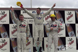 The podium: race winner Bernd Mayländer with Peter Dumbreck and Bernd Schneider