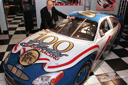 Dan Davis, Director of Ford Racing Technology and head of Ford's racing program, with the NASCAR special edition Ford Taurus, developed by Ford Motor Company with the intention of being raced in NASCAR competition in 2001