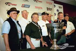 Champ car legends: Wally Dallenbach, Tom Sneva, Mario Andretti, Rick Mears, Joe Leonard, Bobby Unser and Parnelli Jones