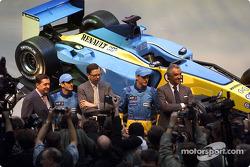 Patrick Faure, Jarno Trulli, Louis Schweitzer, Jenson Button and Flavio Briatore