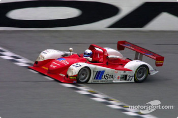 The #27 Judd Dallara flashes across the start/finish line enroute to victory