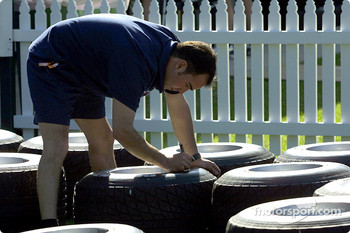 Working on tires at Williams