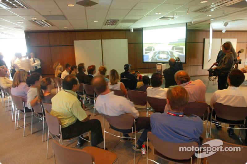 Compaq driver day: Juan Pablo Montoya tries out a racing simulator