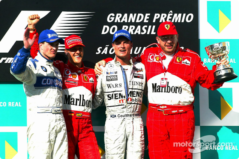 2002: 1. Michael Schumacher, 2. Ralf Schumacher, 3. David Coulthard