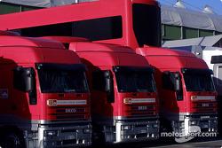 Team Ferrari transporters