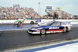 Mike Edwards (far lane) wins Pro Stock over Kurt Johnson