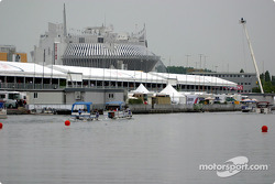 Backstage: the pitlane and paddock area, as seen from the rowing bassin