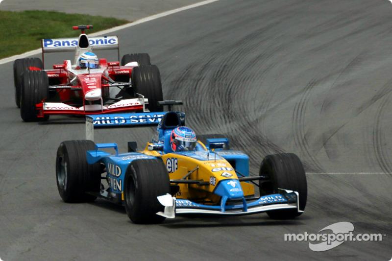 Jenson Button and Mika Salo