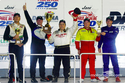 The podium finishers in the American GT class at the Jani-King Paul Revere 250