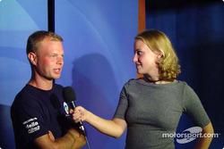 Jan Magnussen visiting the media in Green Bay
