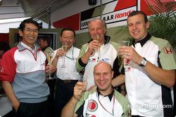 David Richards and Olivier Panis celebrating