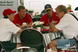 Rinaldo Capello, Tom Kristensen, Emanuele Pirro and Frank Biela having lunch