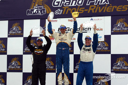 The podium: race winner Butch Leitzinger with Randy Ruhlman and Tomy Drissi