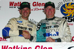 Butch Leitzinger and Rob Dyson congratulate each other on their Bully Hill Vineyards 250 victory at The Glen