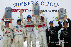 The podium: race winners Tom Kristensen and Rinaldo Capello, with Johnny Herbert, Stefan Johansson, J.J. Lehto and Max Angelelli
