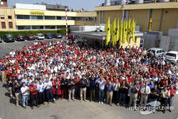 Team Ferrari celebrating its 4th consecutive Constructors World Championship at Maranello