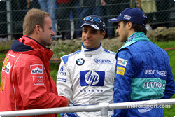 Drivers' parade: Rubens Barrichello, Juan Pablo Montoya and Felipe Massa