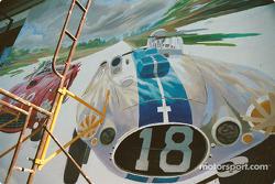 Work in progress, Robert Gillespie mural on Franklin Street