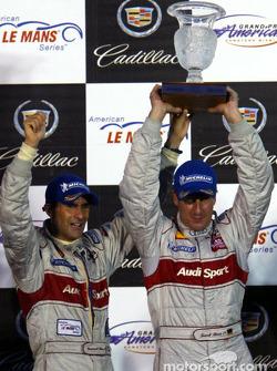 The podium: race winners Emanuele Pirro and Frank Biela