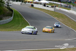 The start: the Doncaster Racing Porsche GT3 Cup leads the Powell Motorsport Corvette