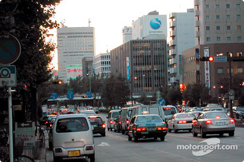Traffic at dusk, Nagoya