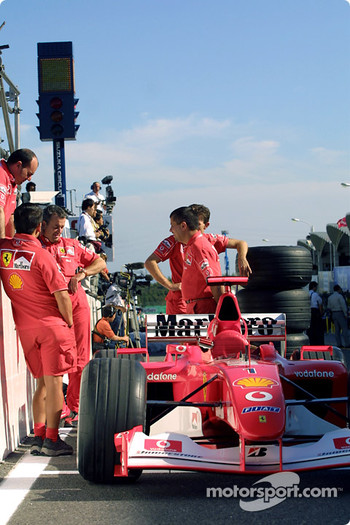 Team Ferrari waits for technical inspection