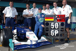 Nick Heidfeld celebrates his 50th Grand Prix