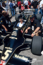 Mario Andretti inside his 1978 World Championship car: the Lotus 79