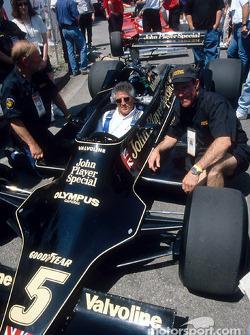 Mario Andretti inside his 1978 World Championship car: the Lotus 79