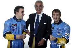 Fernando Alonso, Flavio Briatore and Jarno Trulli