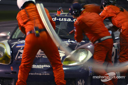 Pitstop for #43 Orbit Racing Porsche GT3 RS: Marc Lieb, Leo Hindery, Kyle Petty, Peter Baron