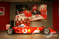 Jean Todt, Felipe Massa, Luca Badoer, Michael Schumacher and Rubens Barrichello with the new Ferrari F2003-GA