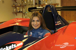 Miss Universe Justine Pasek in the Panoz American Le Mans Series car