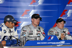 Press conference: race winner David Coulthard with Juan Pablo Montoya and Kimi Raikkonen