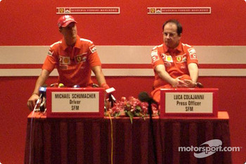 Press conference: Michael Schumacher and Ferrari press officer Luca Colajanni