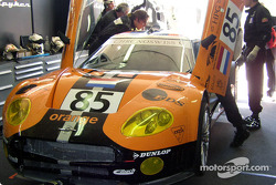 #85 Team Orange Spyker garage area