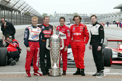 Five past winners with the Borg-Warner Trophy: Kenny Brack, Al Unser Jr., Helio Castroneves, Arie Luyendyk and Buddy Lazier