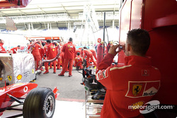 Pitstop practice for team Ferrari