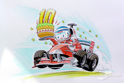 Cartoon commemorating Olivier Panis 10 years in Grand Prix racing