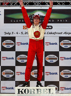 The podium: race winner Sébastien Bourdais