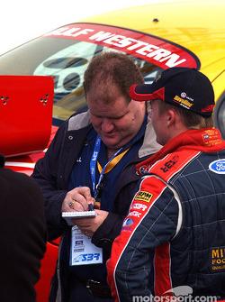 Winterbottom being interviewed by Stone Bros PR man Brett Murray