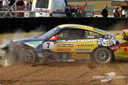 Rodney Jane ends in the gravel trap during the Porsche Cup qualifying